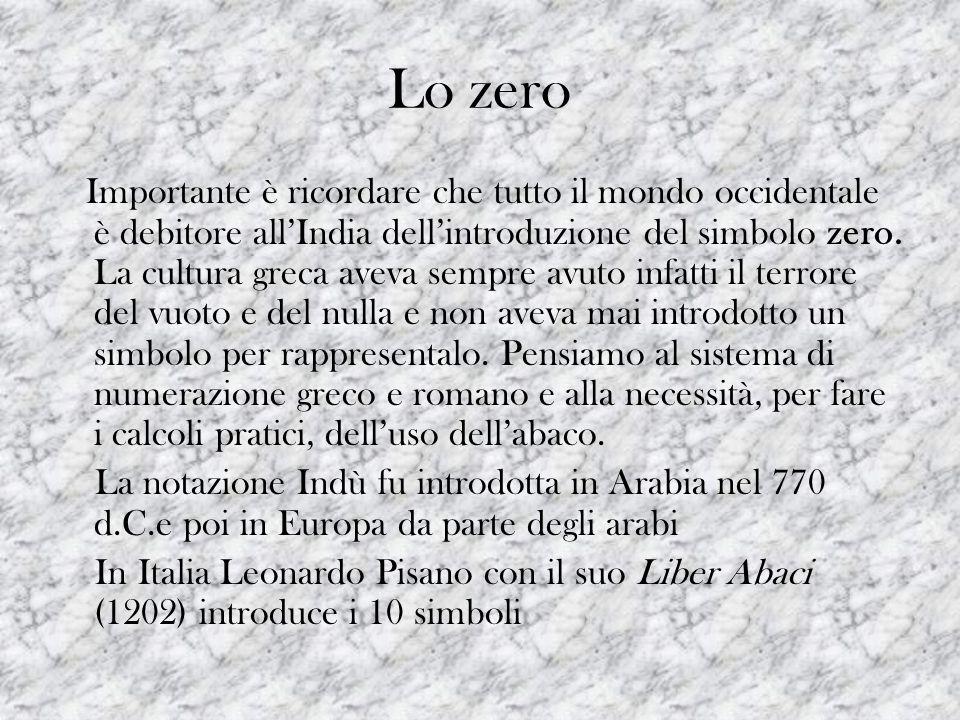 Lo zero Importante è ricordare che tutto il mondo occidentale è debitore allIndia dellintroduzione del simbolo zero. La cultura greca aveva sempre avu
