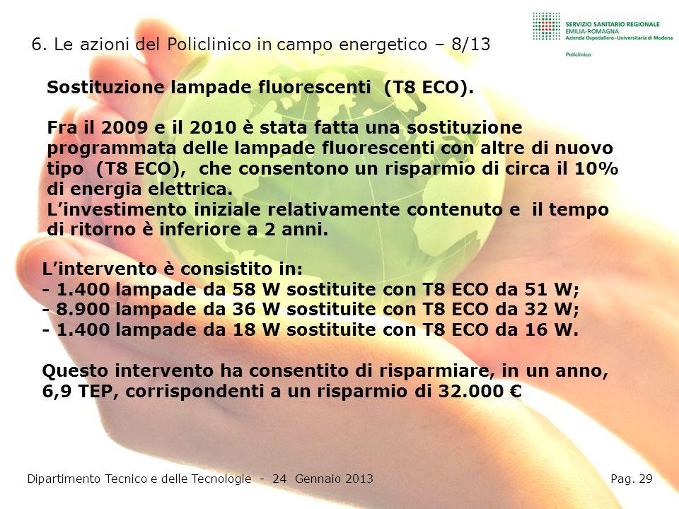 6. Le azioni del Policlinico in campo energetico – 8/13 Dipartimento Tecnico e delle Tecnologie - 24 Gennaio 2013 Pag. 29 Sostituzione lampade fluores