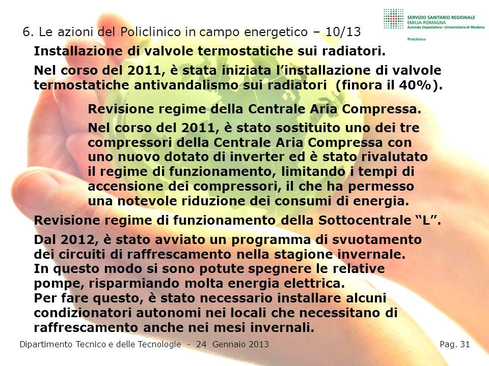 6. Le azioni del Policlinico in campo energetico – 10/13 Dipartimento Tecnico e delle Tecnologie - 24 Gennaio 2013 Pag. 31 Installazione di valvole te