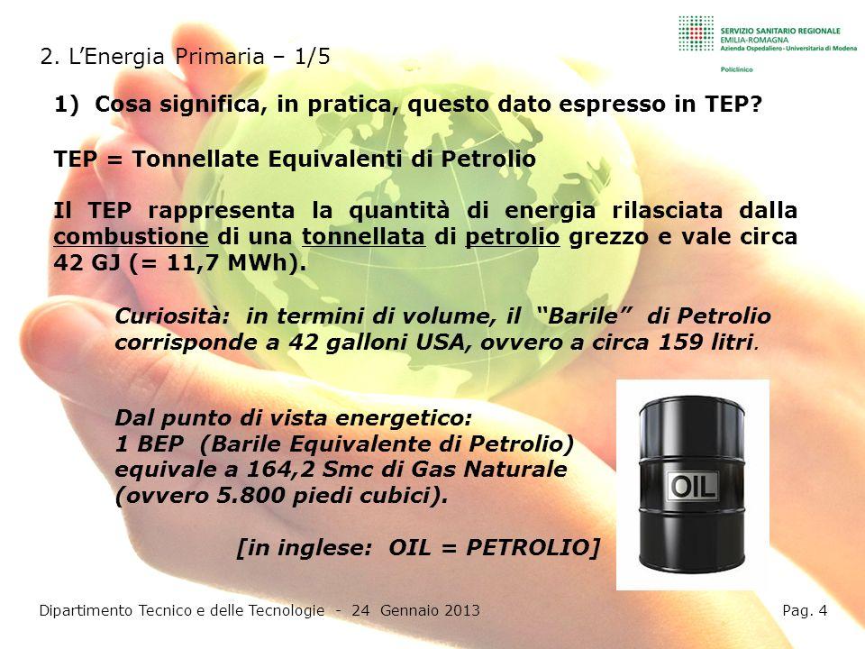 Altri esempi tratti dal Bilancio Energetico 2011: Dipartimento Tecnico e delle Tecnologie - 24 Gennaio 2013 Pag.