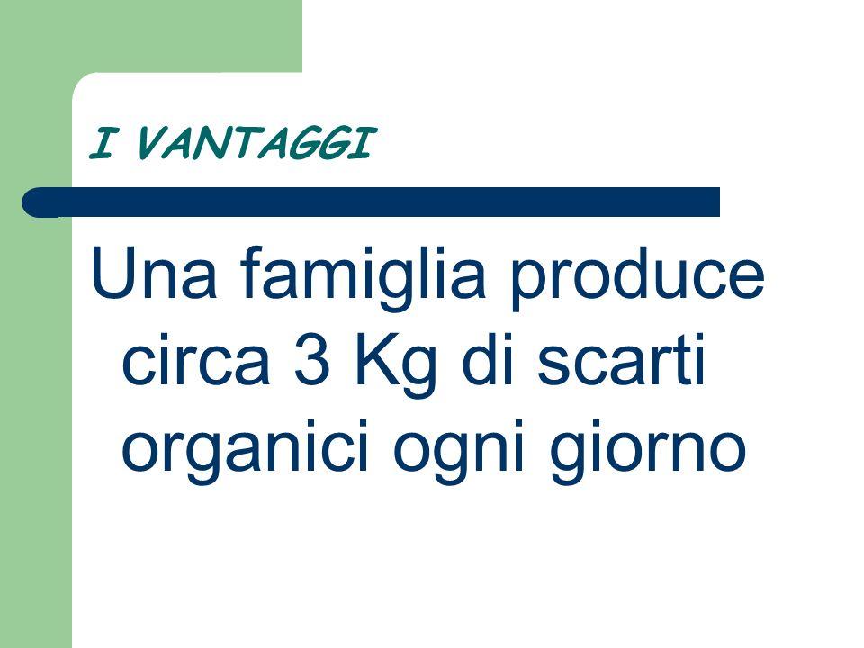I VANTAGGI Una famiglia produce circa 3 Kg di scarti organici ogni giorno