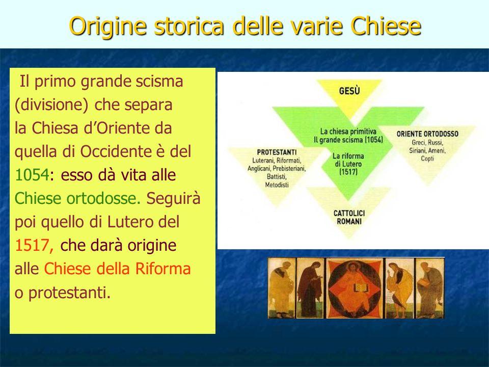 Origine storica delle varie Chiese Il primo grande scisma (divisione) che separa la Chiesa dOriente da quella di Occidente è del 1054: esso dà vita alle Chiese ortodosse.