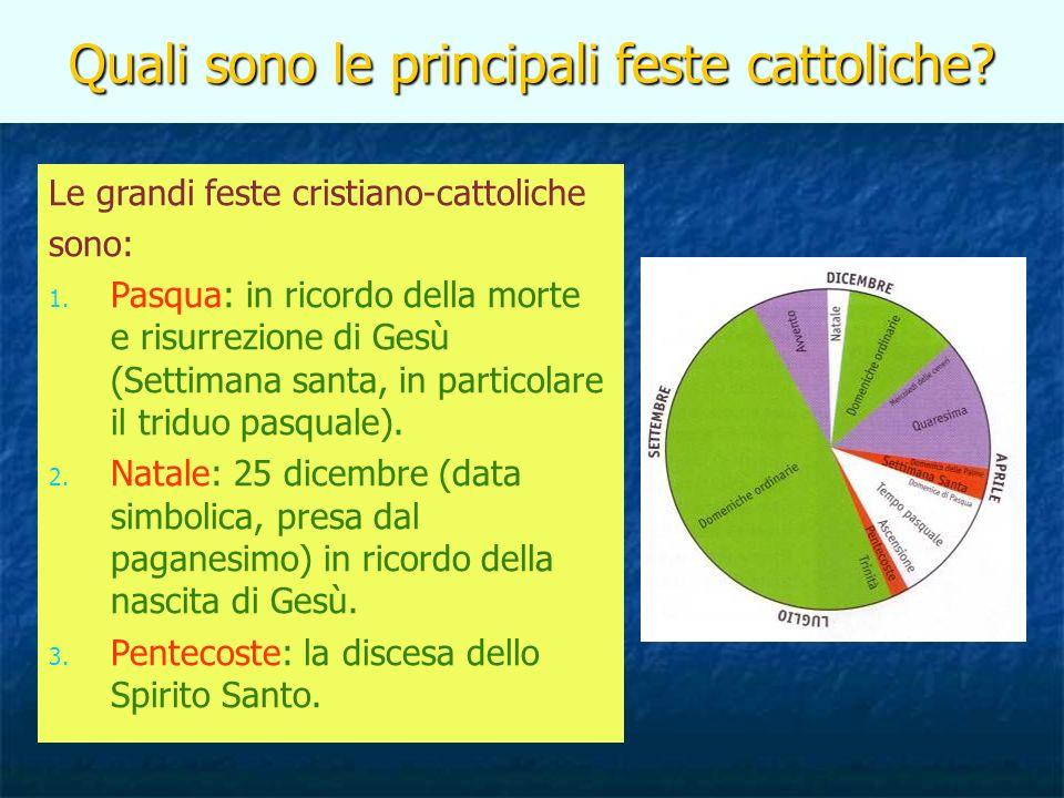 Quali sono le principali feste cattoliche? Le grandi feste cristiano-cattoliche sono: 1. Pasqua: in ricordo della morte e risurrezione di Gesù (Settim