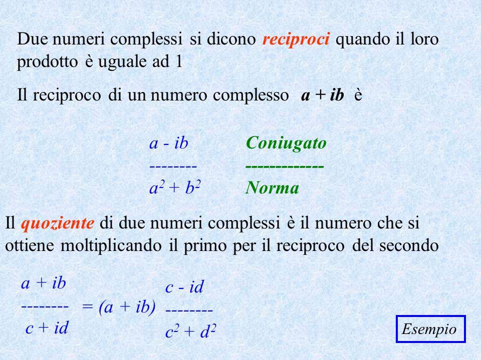 Due numeri complessi si dicono reciproci quando il loro prodotto è uguale ad 1 Il reciproco di un numero complesso a + ib è a - -------- a 2 + b2b2 Il