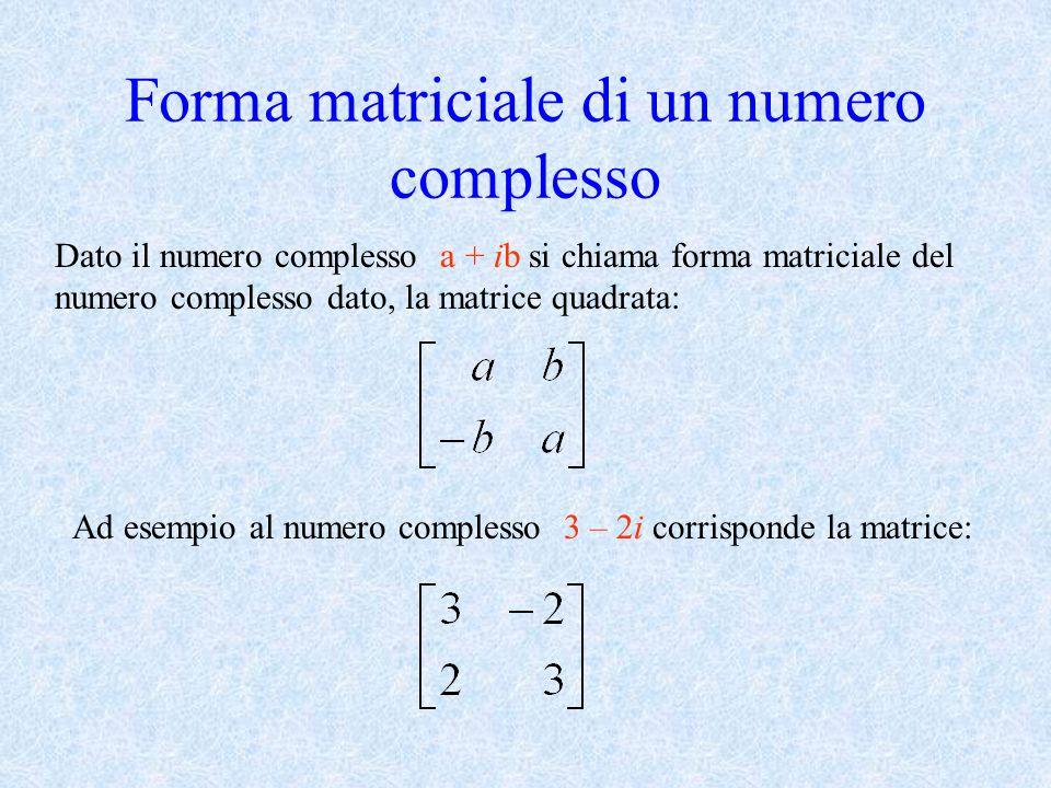 Forma matriciale di un numero complesso Dato il numero complesso a + ib ib si chiama forma matriciale del numero complesso dato, la matrice quadrata: