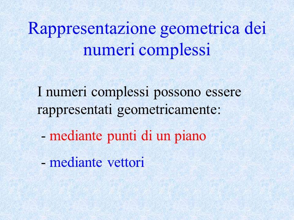 Rappresentazione geometrica dei numeri complessi I numeri complessi possono essere rappresentati geometricamente: - mediante punti di un piano - media