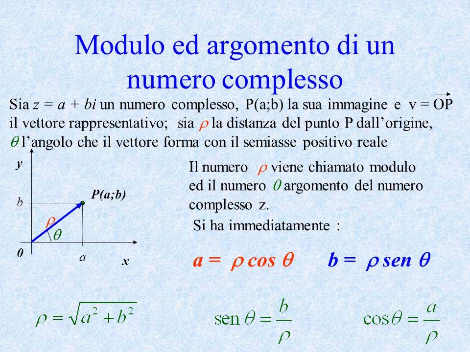 Modulo ed argomento di un numero complesso Sia z = a + bi un numero complesso, P(a;b) la sua immagine e v = OP il vettore rappresentativo; sia la dist