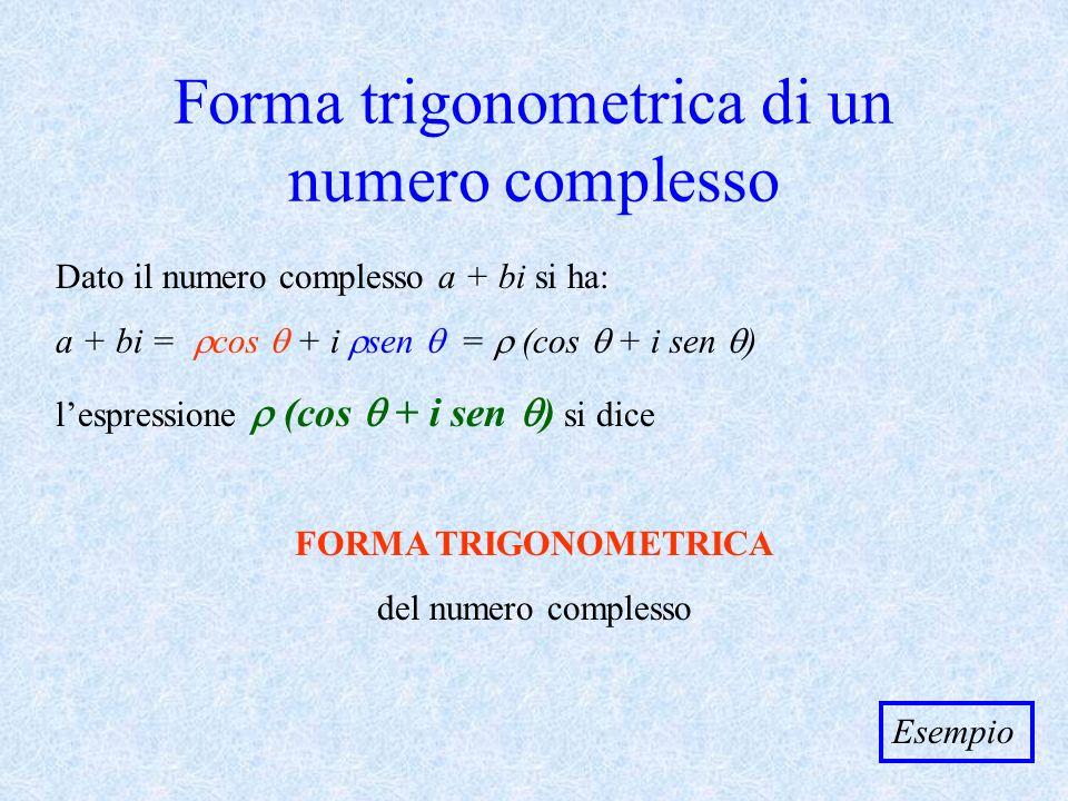 Forma trigonometrica di un numero complesso Dato il numero complesso a + bi si ha: a + bi = cos + i sen = (cos + i sen ) lespressione (cos + i sen ) s