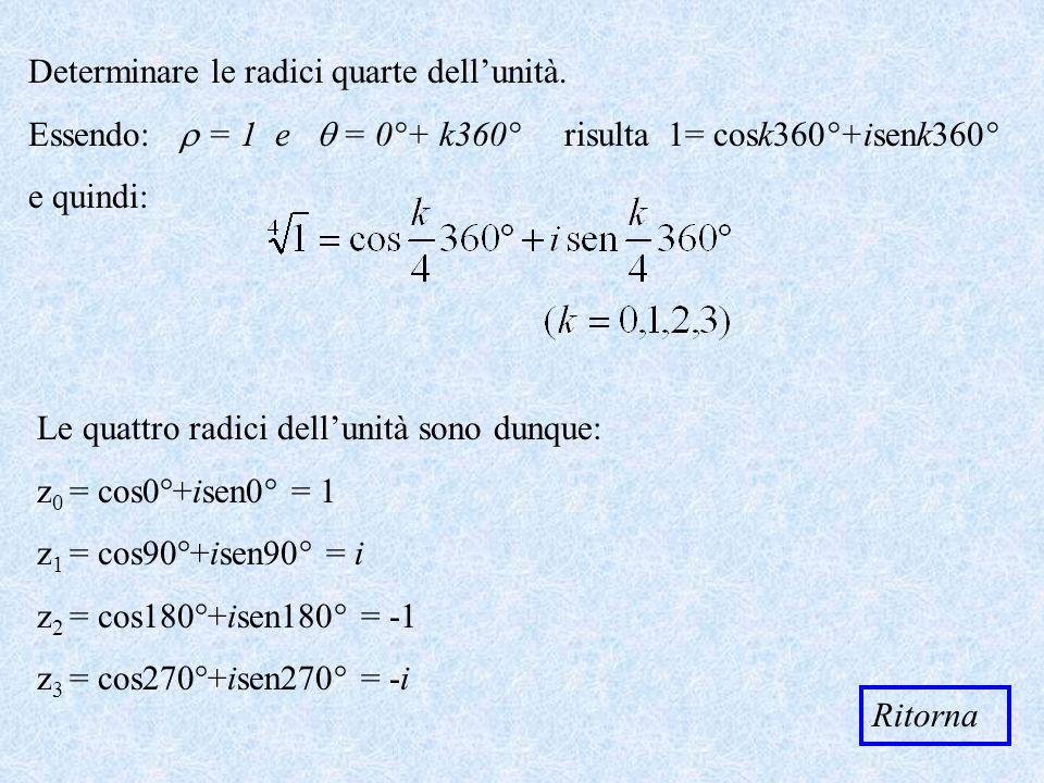 Determinare le radici quarte dellunità. Essendo: = 1 e = 0°+ k360° risulta 1= cosk360°+isenk360° e quindi: Ritorna Le quattro radici dellunità sono du