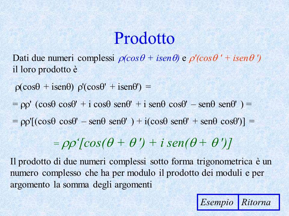 Prodotto Dati due numeri complessi (cos + isen ) e '(cos ' + isen ') il loro prodotto è (cos + isen ) '(cos ' + isen ') = = ' (cos cos ' + i cos sen '