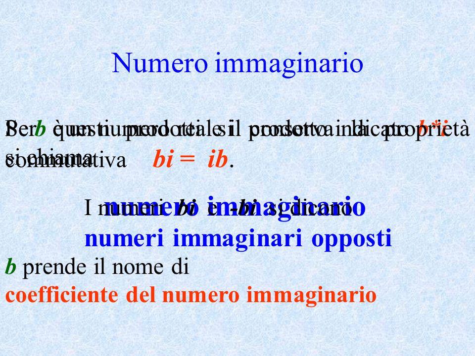 Numero immaginario Se b è un numero reale il prodotto indicato b*i si chiama numero immaginario b prende il nome di coefficiente del numero immaginari