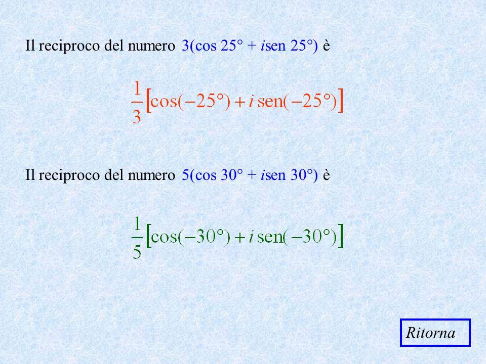 Il reciproco del numero 3(cos 25° + isen 25°) è Il reciproco del numero 5(cos 30° + isen 30°) è Ritorna