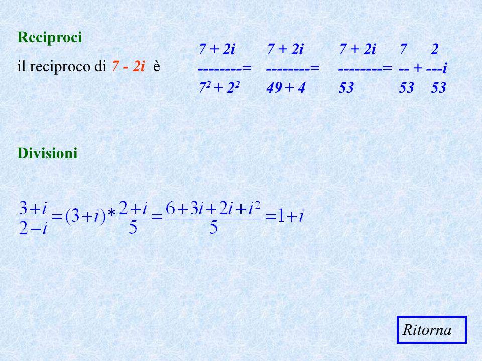 Reciproci il reciproco di 7 - 2i è 7 + 2i --------= 7 2 + 2 2 7 + 2i --------= 49 + 4 7 + 2i --------= 53 7 2 -- + ---i 53 53 Divisioni Ritorna