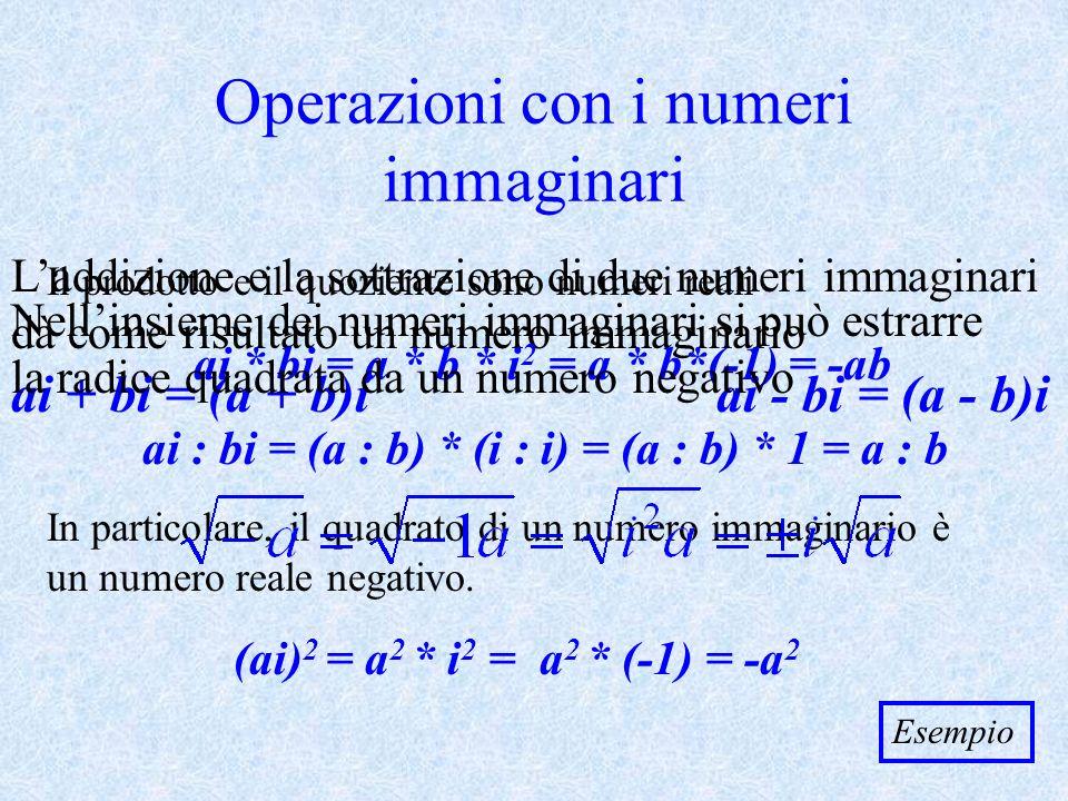 Rappresentazione mediante i punti del piano Fissiamo nel piano un sistema di assi cartesiani ortogonali xOy y x O Al numero complesso z = a + bi facciamo corrispondere il punto P(a;b) b a Rimane così fissata una corrispondenza biunivoca tra linsieme dei numeri complessi e linsieme dei punti del piano.