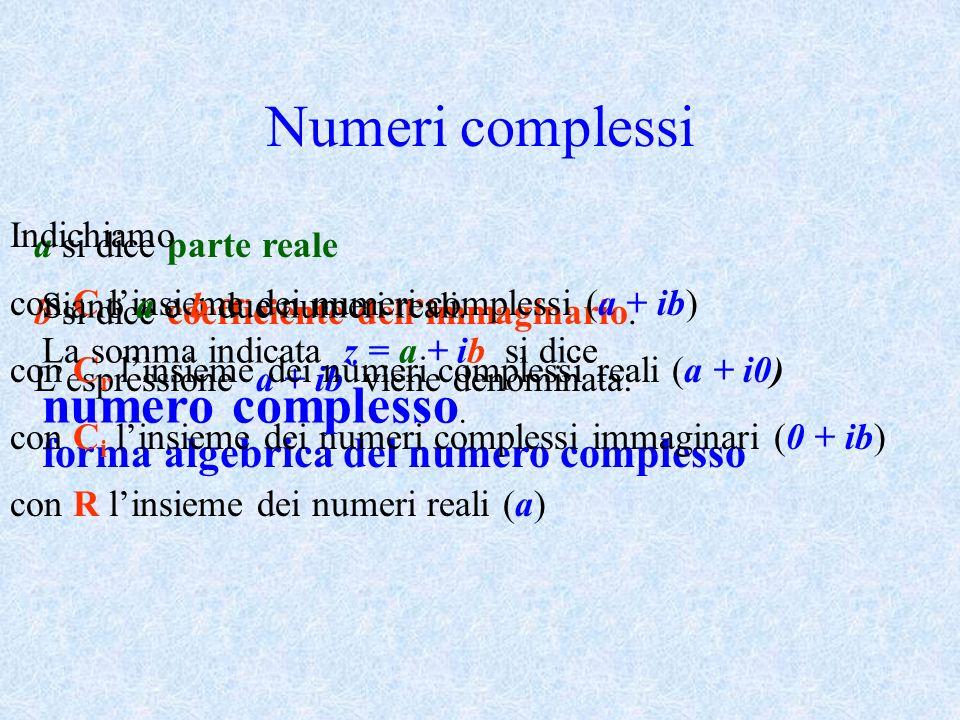 Numeri complessi a si dice parte reale b si dice coefficiente dellimmaginario. Lespressione a + ib viene denominata: forma algebrica del numero comple