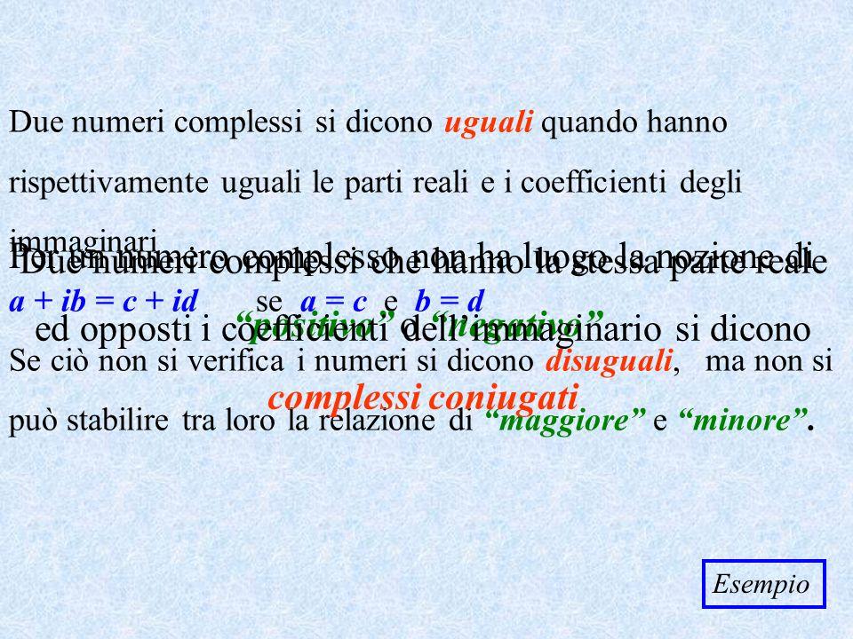 Prodotto Dati due numeri complessi (cos + isen ) e (cos + isen ) il loro prodotto è (cos + isen ) (cos + isen ) = = (cos cos + i cos sen + i sen cos – sen sen ) = = [(cos cos – sen sen ) + i(cos sen + sen cos )] = = [cos( + ) + i sen( + )] Il prodotto di due numeri complessi sotto forma trigonometrica è un numero complesso che ha per modulo il prodotto dei moduli e per argomento la somma degli argomenti EsempioRitorna