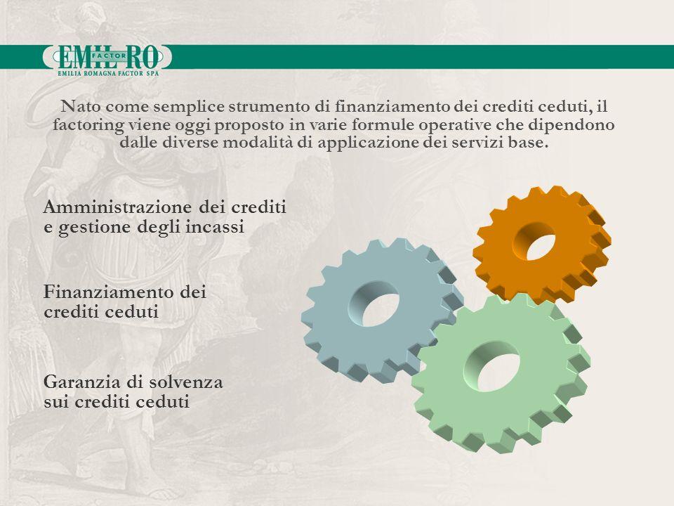 Nato come semplice strumento di finanziamento dei crediti ceduti, il factoring viene oggi proposto in varie formule operative che dipendono dalle dive