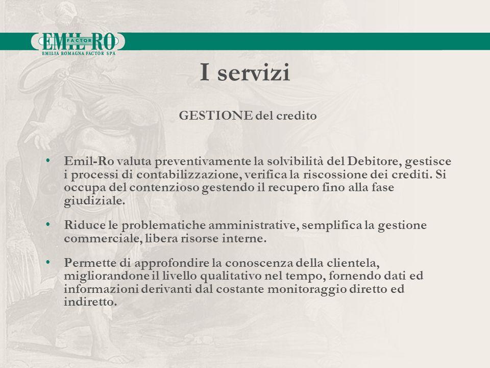 I servizi Emil-Ro valuta preventivamente la solvibilità del Debitore, gestisce i processi di contabilizzazione, verifica la riscossione dei crediti. S