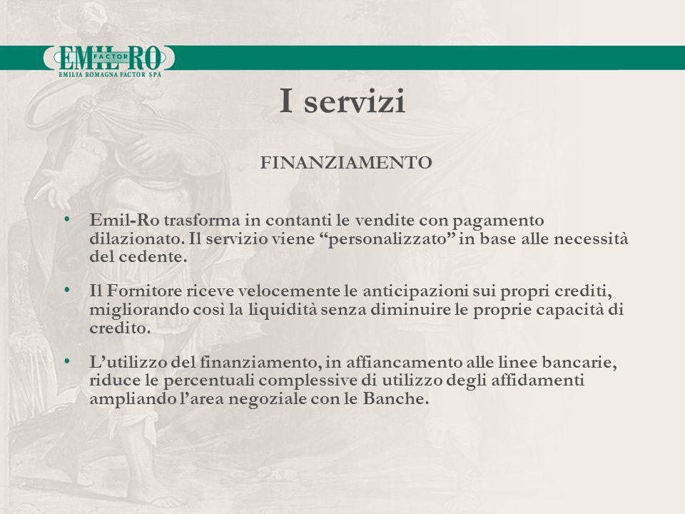 I servizi Emil-Ro trasforma in contanti le vendite con pagamento dilazionato. Il servizio viene personalizzato in base alle necessità del cedente. Il