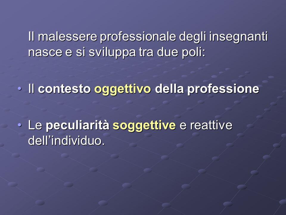 Il malessere professionale degli insegnanti nasce e si sviluppa tra due poli: Il contesto oggettivo della professioneIl contesto oggettivo della professione Le peculiarità soggettive e reattive dellindividuo.Le peculiarità soggettive e reattive dellindividuo.