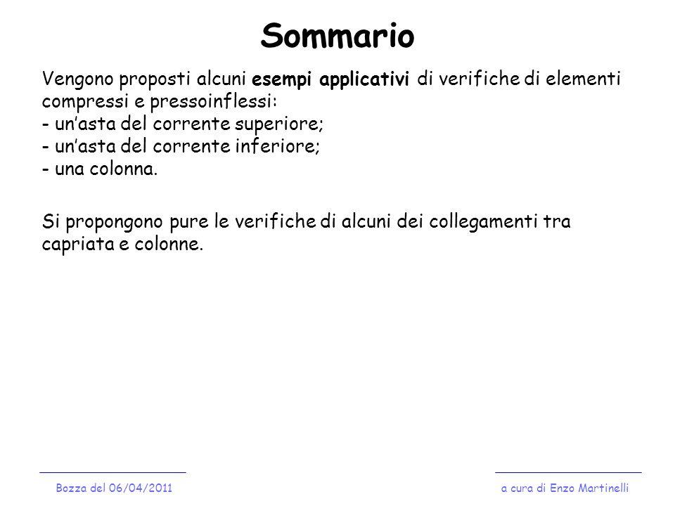 Verifica delle membrature a cura di Enzo MartinelliBozza del 06/04/2011 Corrente Inferiore: Verifiche a Compressione