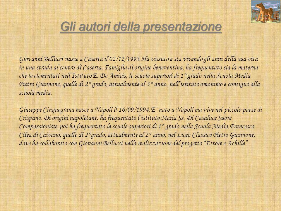 Gli autori della presentazione Giovanni Bellucci nasce a Caserta il 02/12/1993. Ha vissuto e sta vivendo gli anni della sua vita in una strada al cent