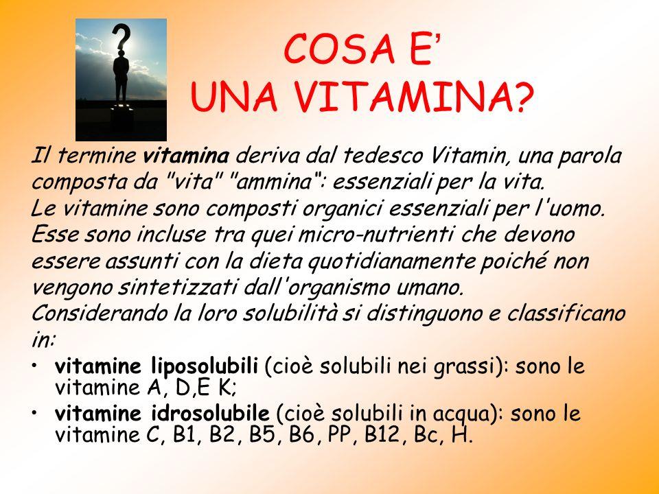 COSA E UNA VITAMINA? Il termine vitamina deriva dal tedesco Vitamin, una parola composta da