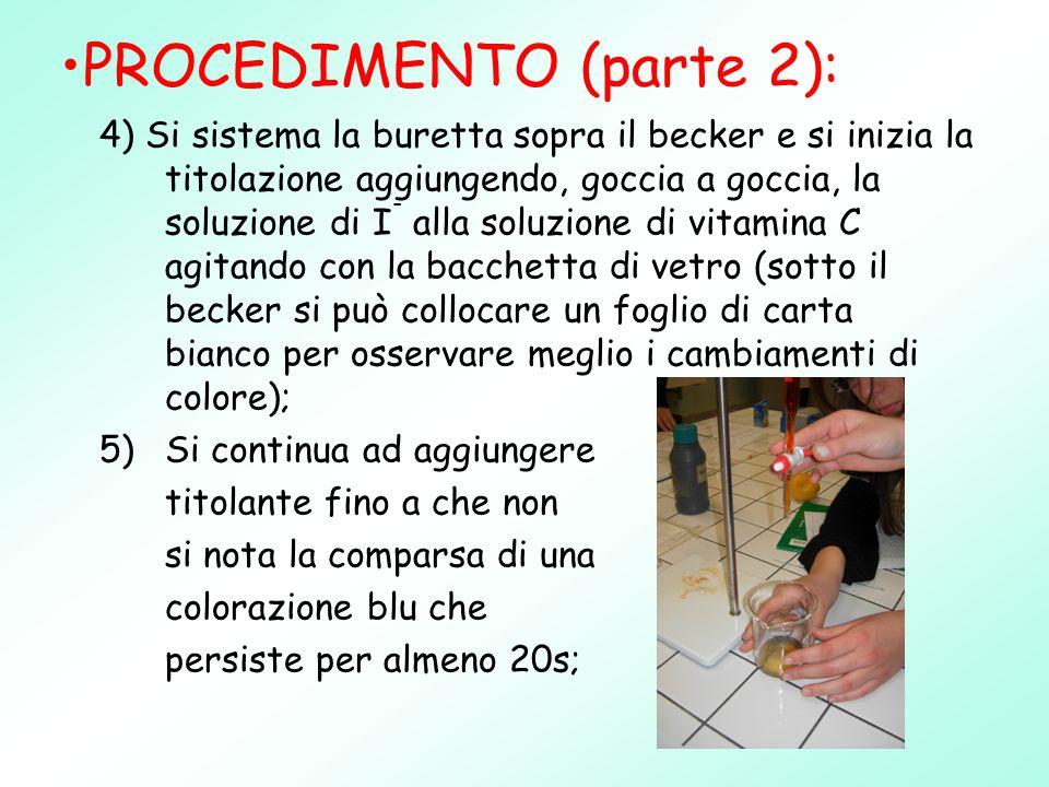 4) Si sistema la buretta sopra il becker e si inizia la titolazione aggiungendo, goccia a goccia, la soluzione di I - alla soluzione di vitamina C agi