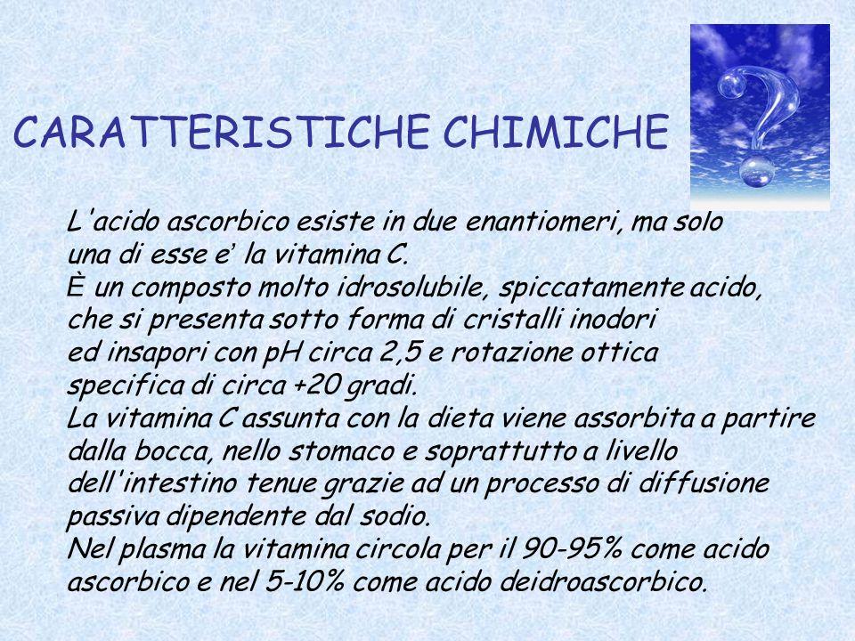 CARATTERISTICHE CHIMICHE L'acido ascorbico esiste in due enantiomeri, ma solo una di esse e la vitamina C. È un composto molto idrosolubile, spiccatam
