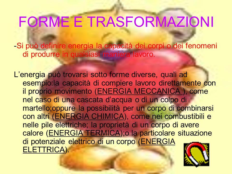 SOMMARIO Forme e trasformazioni Definizione di energia Altre forme di energia o derivate Trasformazioni dellenergia Energia e fonti energetiche nella