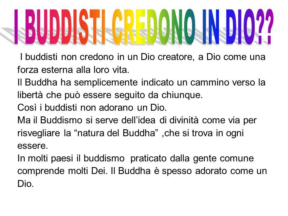 I buddisti non credono in un Dio creatore, a Dio come una forza esterna alla loro vita. Il Buddha ha semplicemente indicato un cammino verso la libert