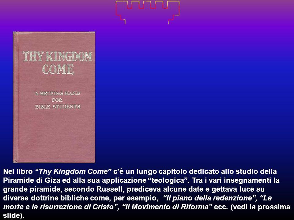Nel libro Thy Kingdom Come cè un lungo capitolo dedicato allo studio della Piramide di Giza ed alla sua applicazione teologica. Tra i vari insegnament