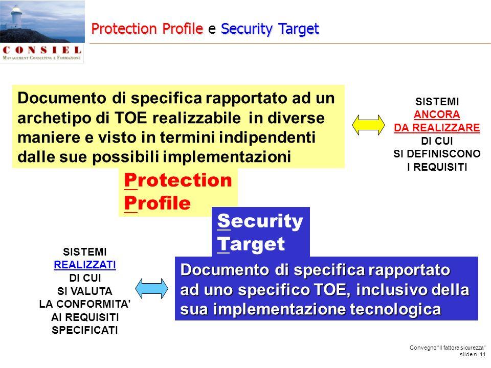 Convegno Il fattore sicurezza slide n. 11 Documento di specifica rapportato ad uno specifico TOE, inclusivo della sua implementazione tecnologica Docu