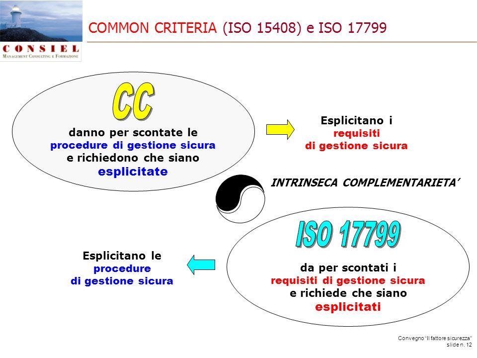 Convegno Il fattore sicurezza slide n. 12 COMMON CRITERIA (ISO 15408) e ISO 17799 danno per scontate le procedure di gestione sicura e richiedono che