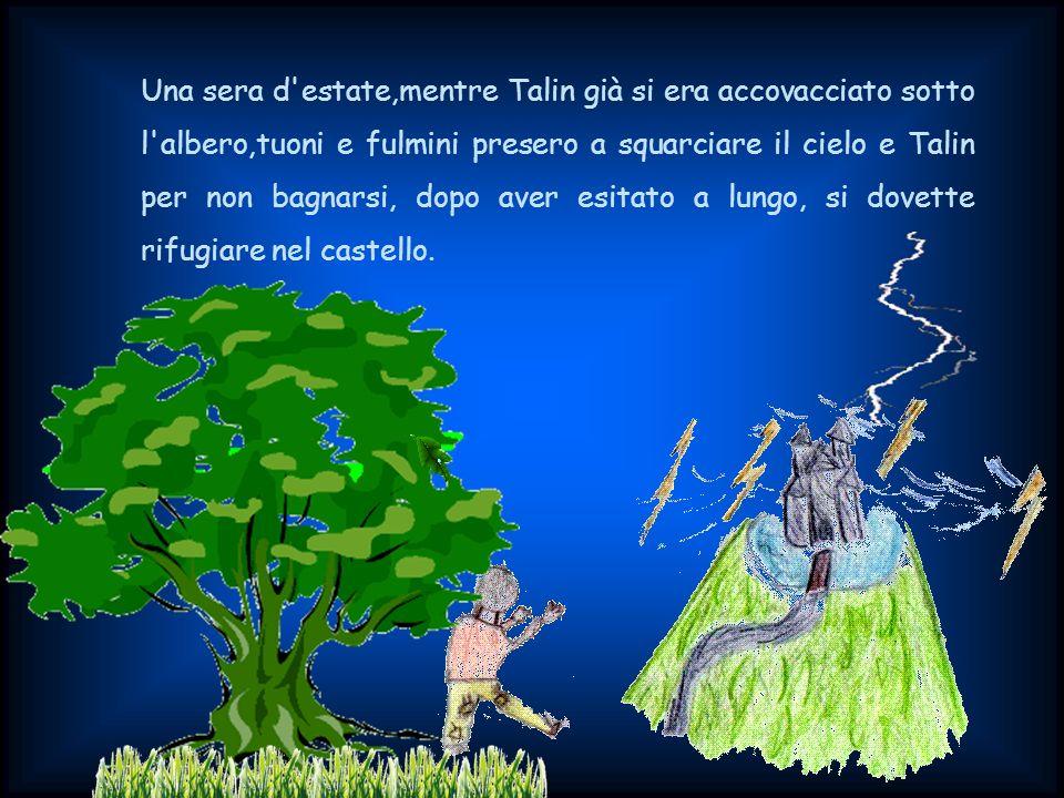 Una sera d estate,mentre Talin già si era accovacciato sotto l albero,tuoni e fulmini presero a squarciare il cielo e Talin per non bagnarsi, dopo aver esitato a lungo, si dovette rifugiare nel castello.