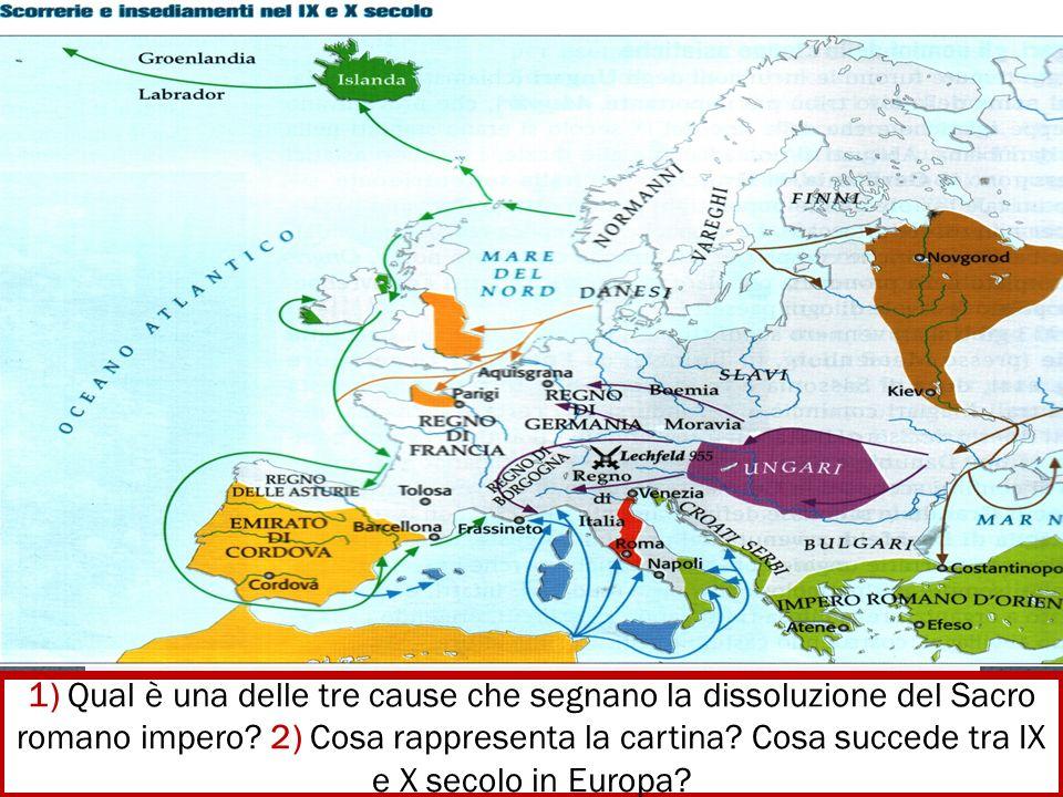 1) Qual è una delle tre cause che segnano la dissoluzione del Sacro romano impero.