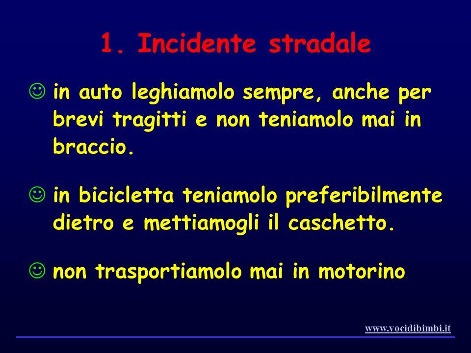 1. Incidente stradale in auto leghiamolo sempre, anche per brevi tragitti e non teniamolo mai in braccio. in bicicletta teniamolo preferibilmente diet