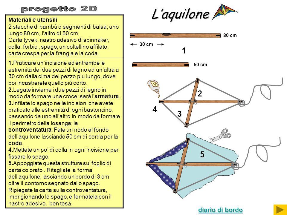 Laquilone Materiali e utensili 2 stecche di bambù o segmenti di balsa, uno lungo 80 cm, laltro di 50 cm. Carta tyvek, nastro adesivo di spinnaker, col