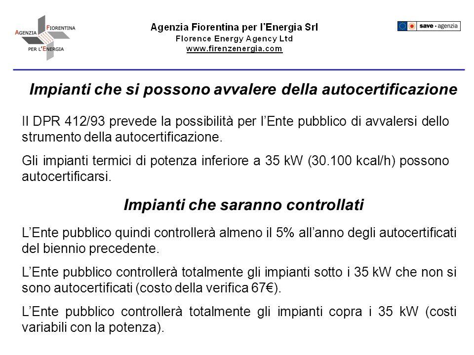 Impianti che si possono avvalere della autocertificazione Il DPR 412/93 prevede la possibilità per lEnte pubblico di avvalersi dello strumento della autocertificazione.
