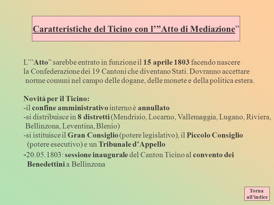 Atto di Mediazione nella parte riguardante il nuovo Cantone Ticino Amiens, 27 giugno 1803 (Archivio di stato, Bellinzona) NellAtto di Mediazione campe