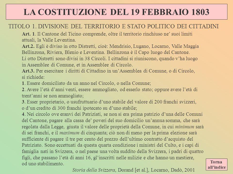 Caratteristiche del Ticino con lAtto di Mediazione LAtto sarebbe entrato in funzione il 15 aprile 1803 facendo nascere la Confederazione dei 19 Canton