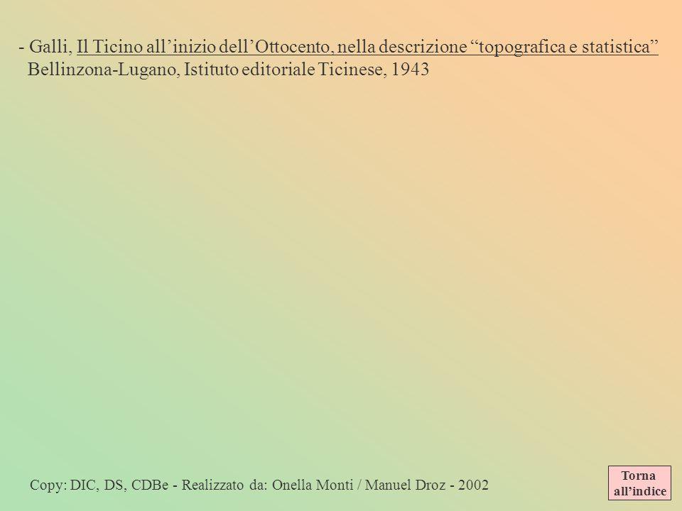 - Foletti, Arte nellOttocento…, Locarno, Dadò, 2001 - Caldelari, Stradario del borgo di Giubiasco, Porza, Lugano, Trelingua, 1978 - Ceschi, Ottocento