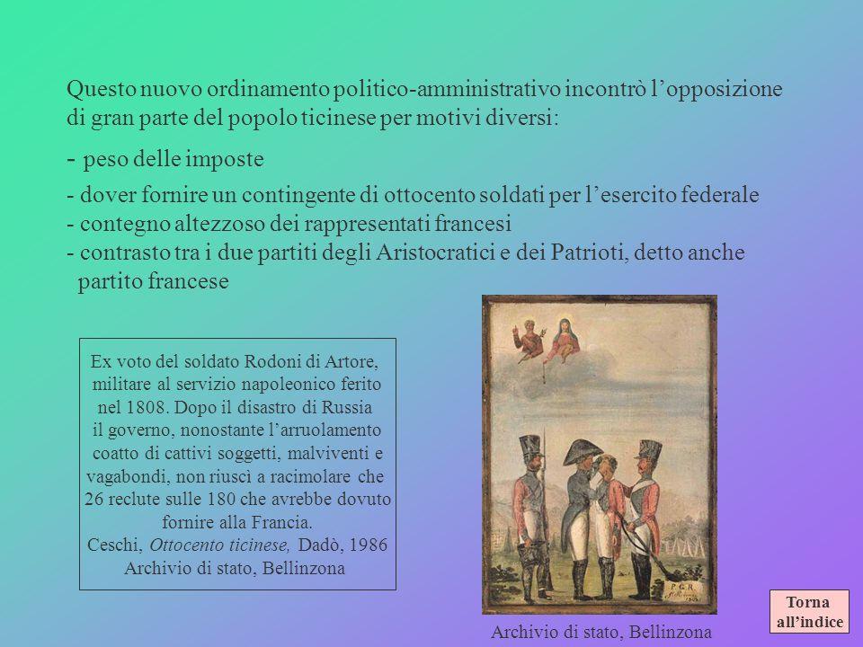 Il TICINO SOTTO LELVETICA alcune caratteristiche 1798-1802/3 Ordinamento politico-amministrativo Sotto il regime unitario scomparvero i baliaggi itali