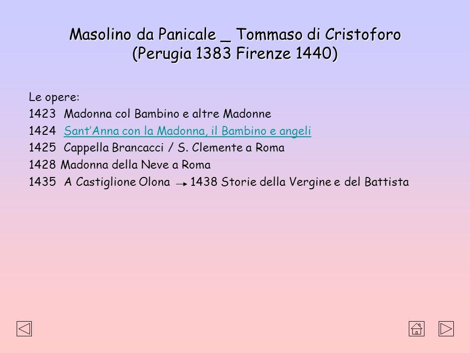 Masolino da Panicale _ Tommaso di Cristoforo (Perugia 1383 Firenze 1440) Le opere: 1423 Madonna col Bambino e altre Madonne 1424 SantAnna con la Madon