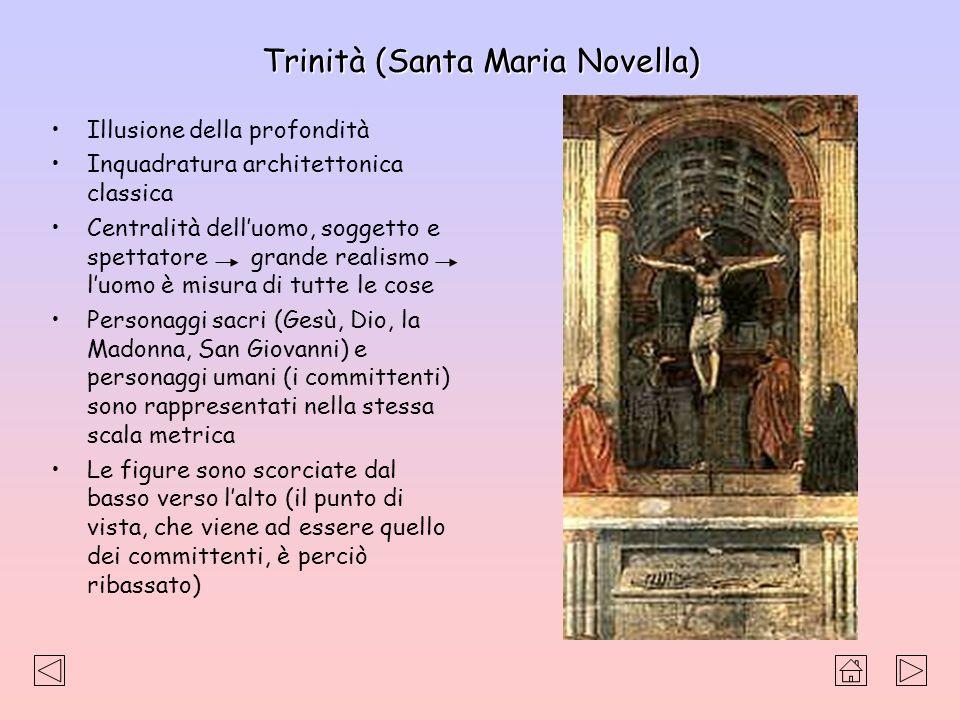 Trinità (Santa Maria Novella) Illusione della profondità Inquadratura architettonica classica Centralità delluomo, soggetto e spettatore grande realis