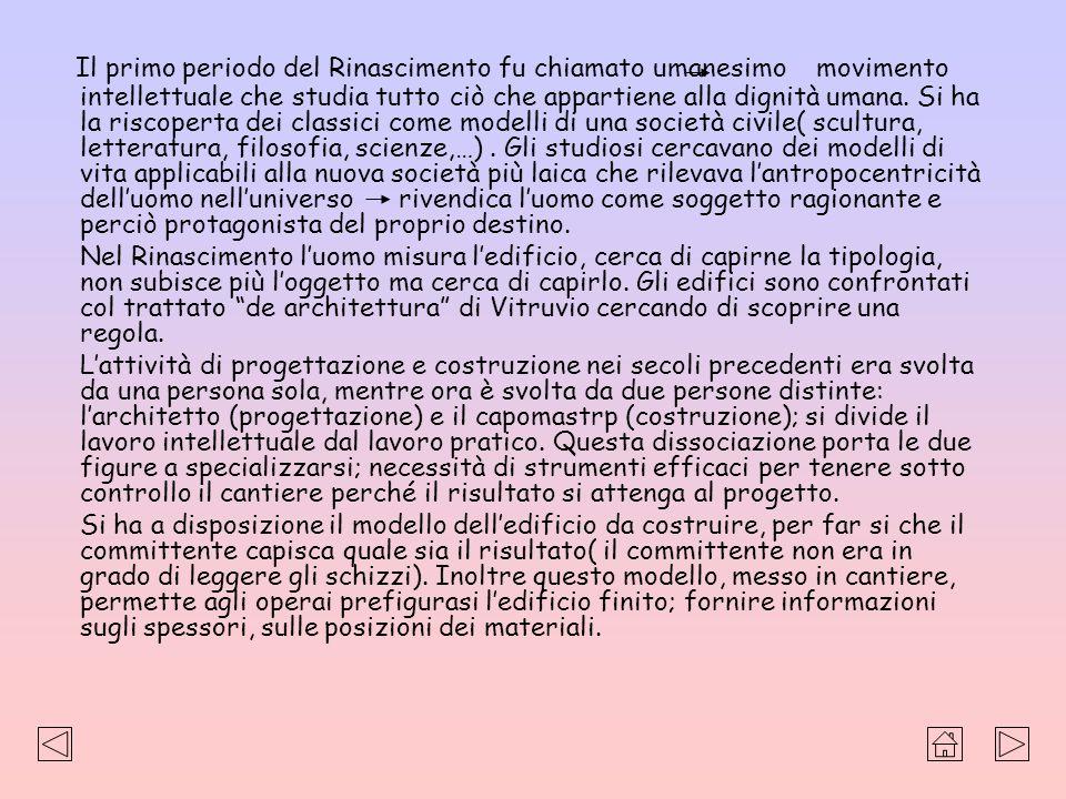 Elementi caratterizzanti larchitettura rinascimentale Pianta centrale : è tipica del Rinascimento; è ripreso dal Romanico e modificata.