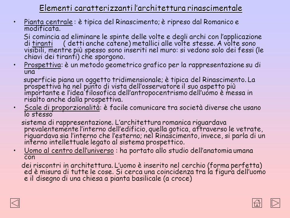 Elementi caratterizzanti larchitettura rinascimentale Pianta centrale : è tipica del Rinascimento; è ripreso dal Romanico e modificata. Si comincia ad