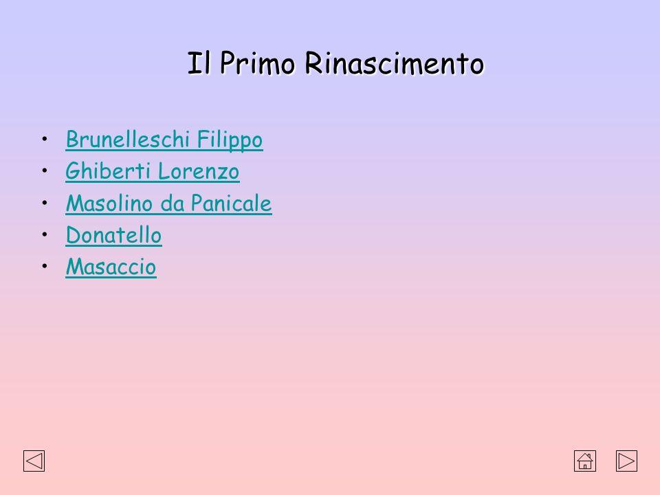 Il Primo Rinascimento Brunelleschi Filippo Ghiberti Lorenzo Masolino da Panicale Donatello Masaccio