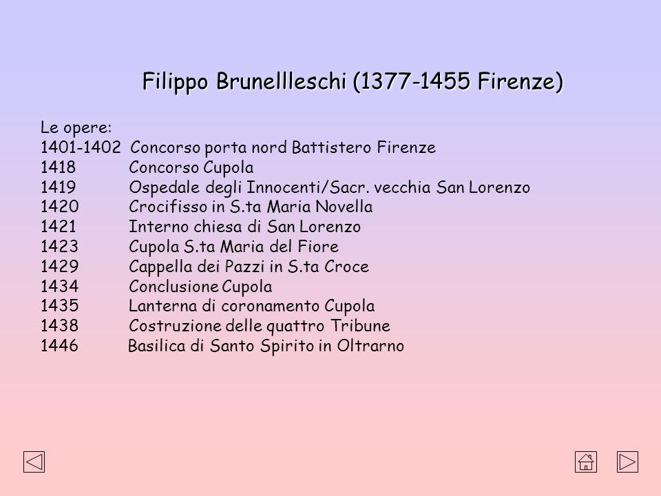 Filippo Brunellleschi (1377-1455 Firenze) Le opere: 1401-1402 Concorso porta nord Battistero Firenze 1418 Concorso Cupola 1419 Ospedale degli Innocent