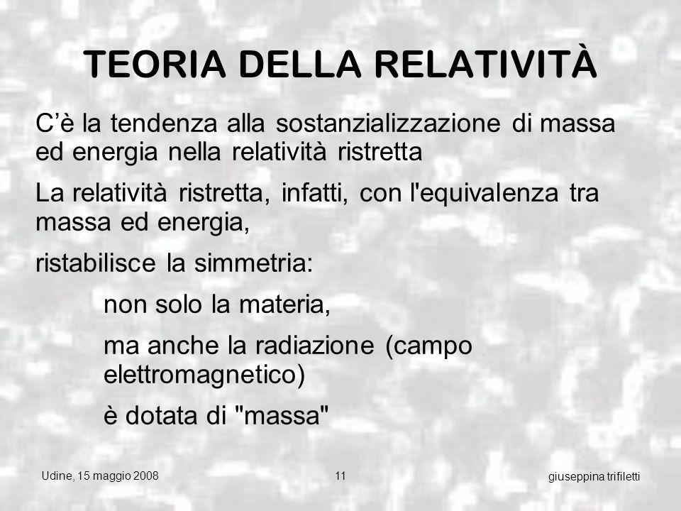 Udine, 15 maggio 200811 giuseppina trifiletti TEORIA DELLA RELATIVITÀ Cè la tendenza alla sostanzializzazione di massa ed energia nella relatività ristretta La relatività ristretta, infatti, con l equivalenza tra massa ed energia, ristabilisce la simmetria: non solo la materia, ma anche la radiazione (campo elettromagnetico) è dotata di massa